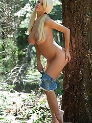 busts out her goodies in a quiet forest